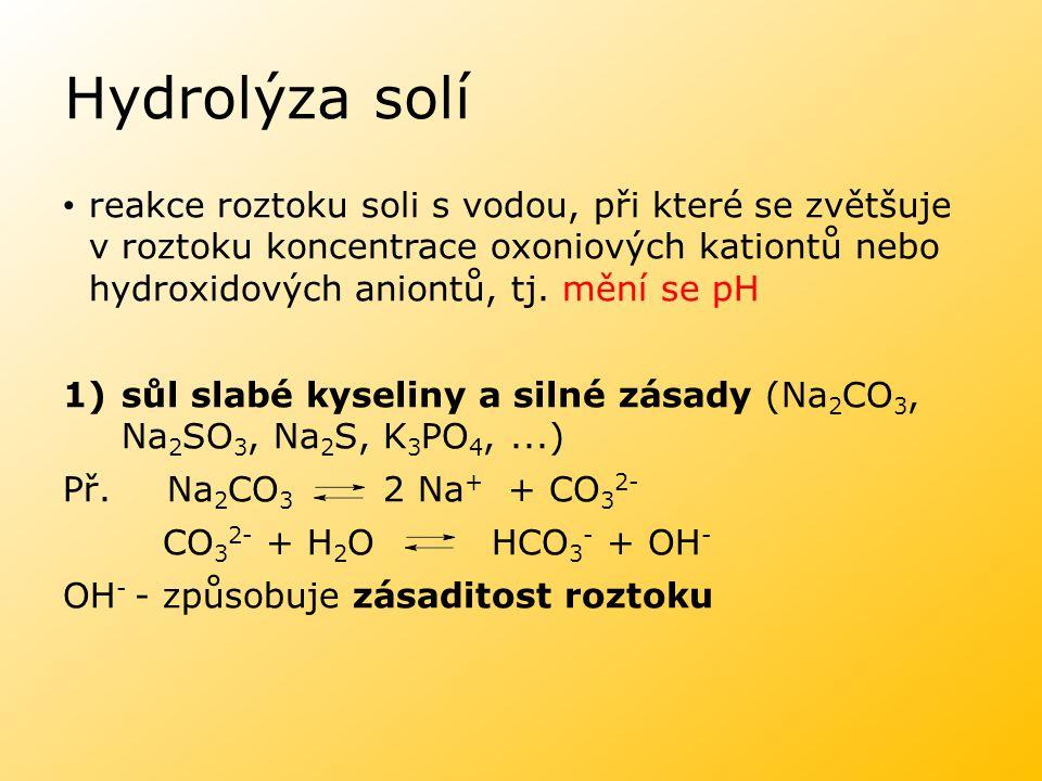 Hydrolýza solí reakce roztoku soli s vodou, při které se zvětšuje v roztoku koncentrace oxoniových kationtů nebo hydroxidových aniontů, tj. mění se pH
