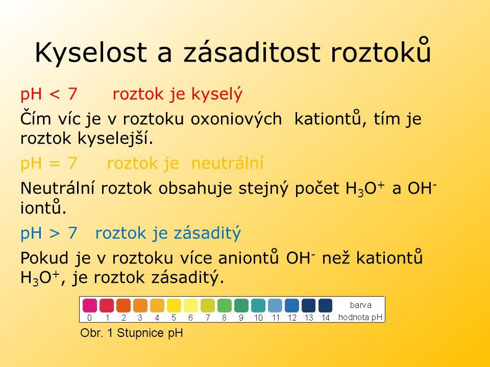 Kyselost a zásaditost roztoků pH < 7 roztok je kyselý Čím víc je v roztoku oxoniových kationtů, tím je roztok kyselejší. pH = 7 roztok je neutrální Ne