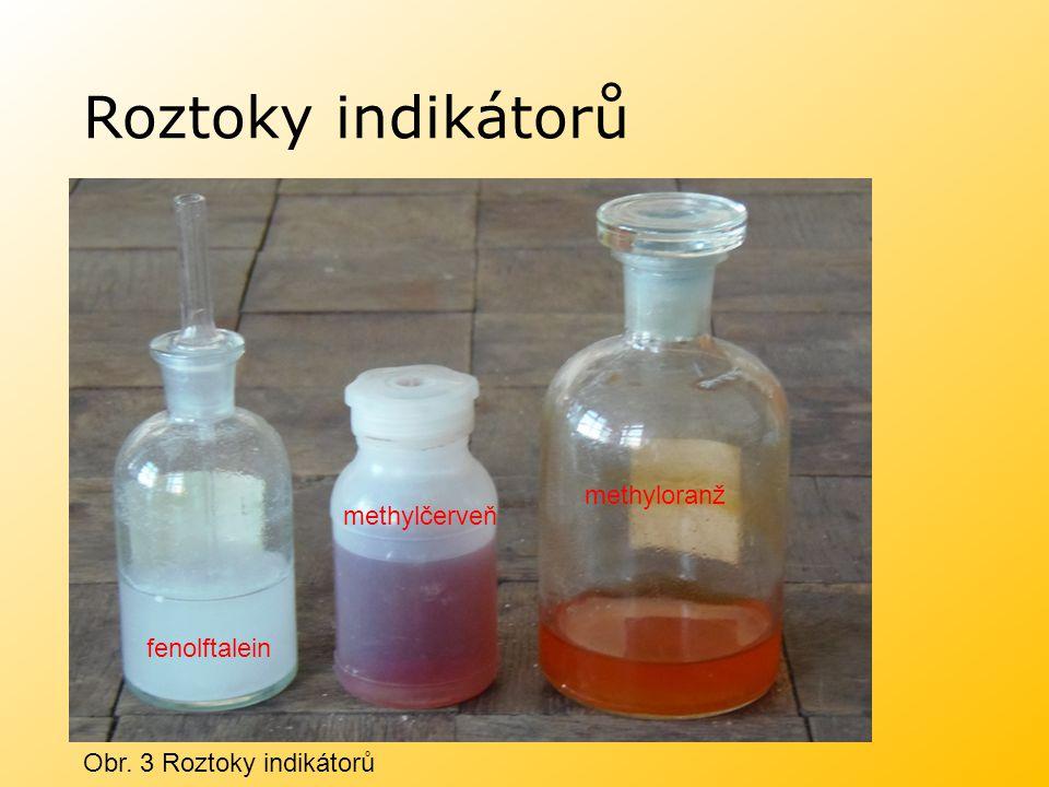 Acidobazické indikátory Univerzální indikátorové papírky jsou napuštěny vhodnou směsí indikátoru, jejich zbarvení se postupně mění se změnou pH a porovnává se s barevnou stupnicí.