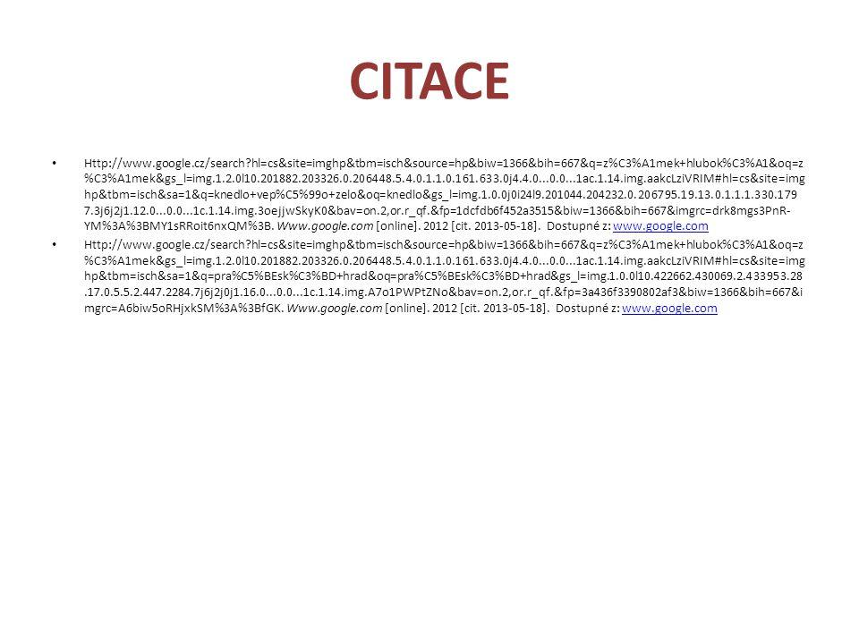 CITACE Http://www.google.cz/search?hl=cs&site=imghp&tbm=isch&source=hp&biw=1366&bih=667&q=z%C3%A1mek+hlubok%C3%A1&oq=z %C3%A1mek&gs_l=img.1.2.0l10.201882.203326.0.206448.5.4.0.1.1.0.161.633.0j4.4.0...0.0...1ac.1.14.img.aakcLziVRIM#hl=cs&site=img hp&tbm=isch&sa=1&q=knedlo+vep%C5%99o+zelo&oq=knedlo&gs_l=img.1.0.0j0i24l9.201044.204232.0.206795.19.13.0.1.1.1.330.179 7.3j6j2j1.12.0...0.0...1c.1.14.img.3oejjwSkyK0&bav=on.2,or.r_qf.&fp=1dcfdb6f452a3515&biw=1366&bih=667&imgrc=drk8mgs3PnR- YM%3A%3BMY1sRRoit6nxQM%3B.