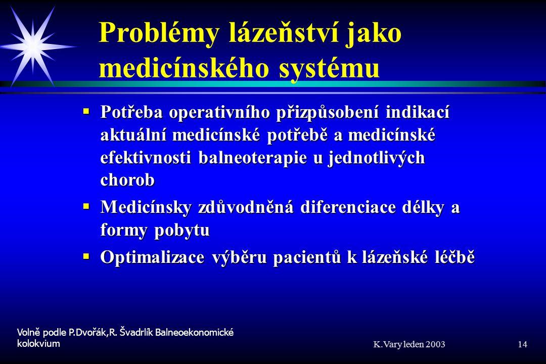 K.Vary leden 2003 14 Problémy lázeňství jako medicínského systému  Potřeba operativního přizpůsobení indikací aktuální medicínské potřebě a medicínské efektivnosti balneoterapie u jednotlivých chorob  Medicínsky zdůvodněná diferenciace délky a formy pobytu  Optimalizace výběru pacientů k lázeňské léčbě Volně podle P.Dvořák,R.
