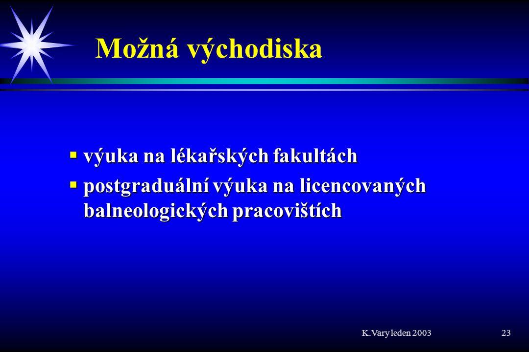 K.Vary leden 2003 23 Možná východiska  výuka na lékařských fakultách  postgraduální výuka na licencovaných balneologických pracovištích