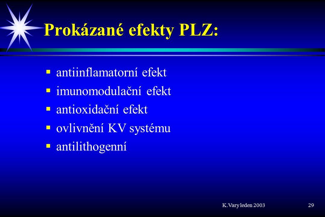 K.Vary leden 2003 29 Prokázané efekty PLZ:   antiinflamatorní efekt   imunomodulační efekt   antioxidační efekt   ovlivnění KV systému   antilithogenní