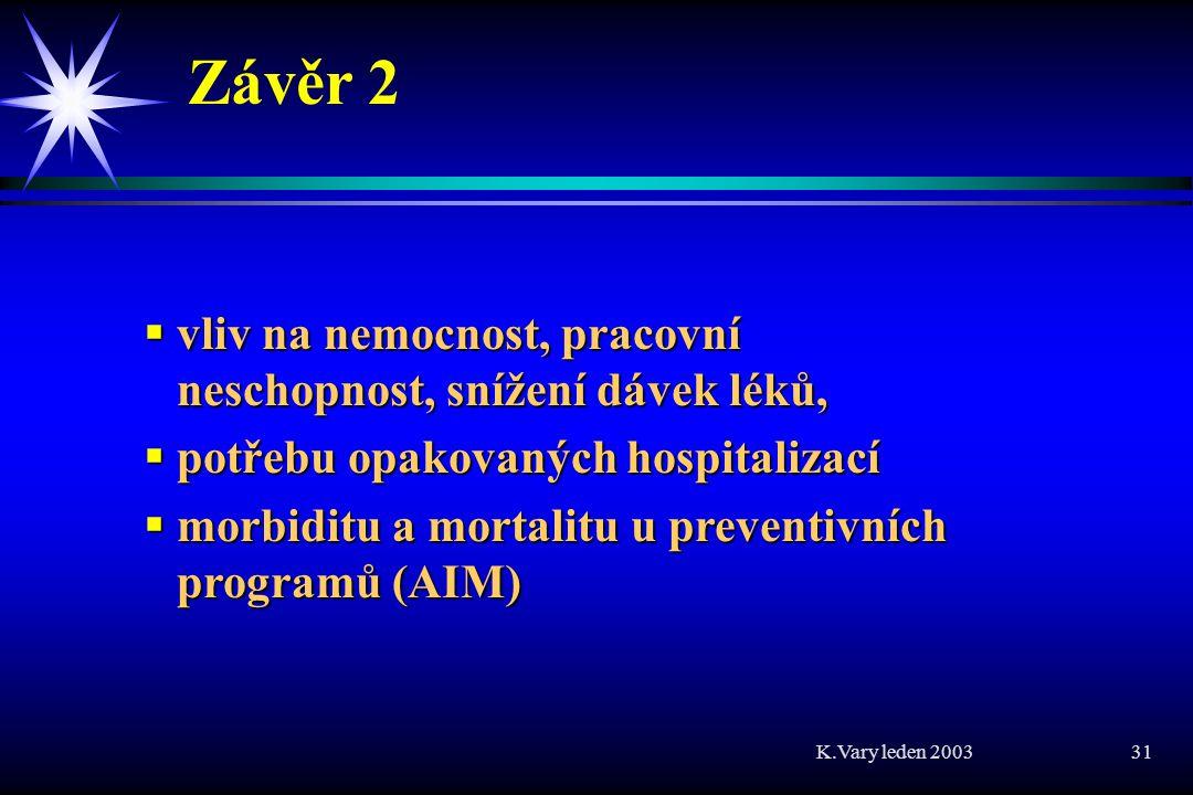 K.Vary leden 2003 31 Závěr 2  vliv na nemocnost, pracovní neschopnost, snížení dávek léků,  potřebu opakovaných hospitalizací  morbiditu a mortalitu u preventivních programů (AIM)