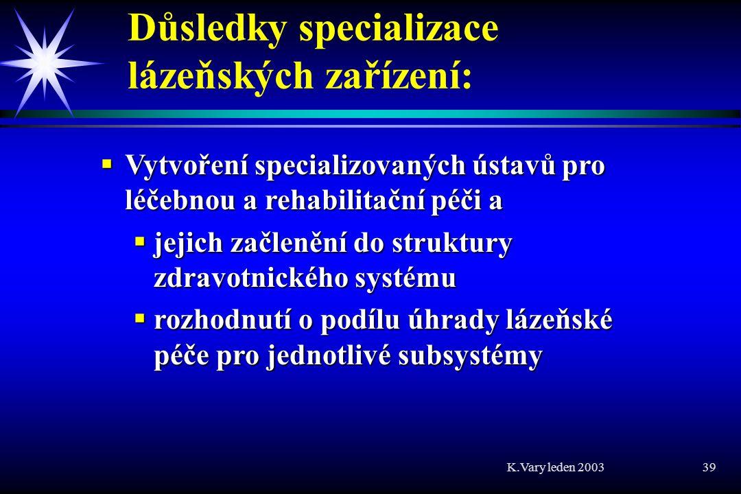 K.Vary leden 2003 39 Důsledky specializace lázeňských zařízení:  Vytvoření specializovaných ústavů pro léčebnou a rehabilitační péči a  jejich začlenění do struktury zdravotnického systému  rozhodnutí o podílu úhrady lázeňské péče pro jednotlivé subsystémy