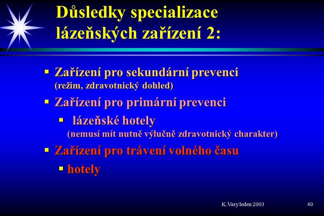 K.Vary leden 2003 40 Důsledky specializace lázeňských zařízení 2:  Zařízení pro sekundární prevenci (režim, zdravotnický dohled)  Zařízení pro primární prevenci  lázeňské hotely (nemusí mít nutně výlučně zdravotnický charakter)  Zařízení pro trávení volného času  hotely
