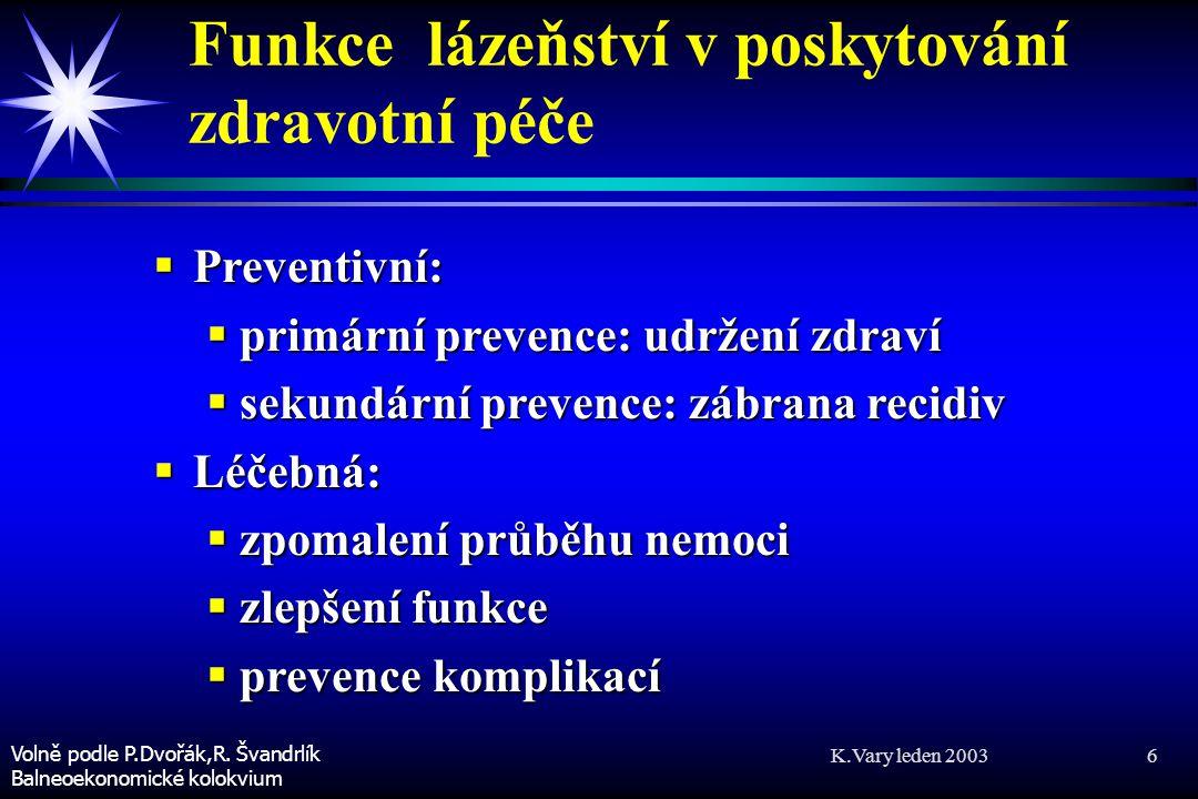K.Vary leden 2003 7 Funkce lázeňství v poskytování zdravotní péče 2  Rehabilitační (doléčovací):  obnova plné funkční schopnosti  zlepšení funkční schopnosti Volně podle P.Dvořák,R.