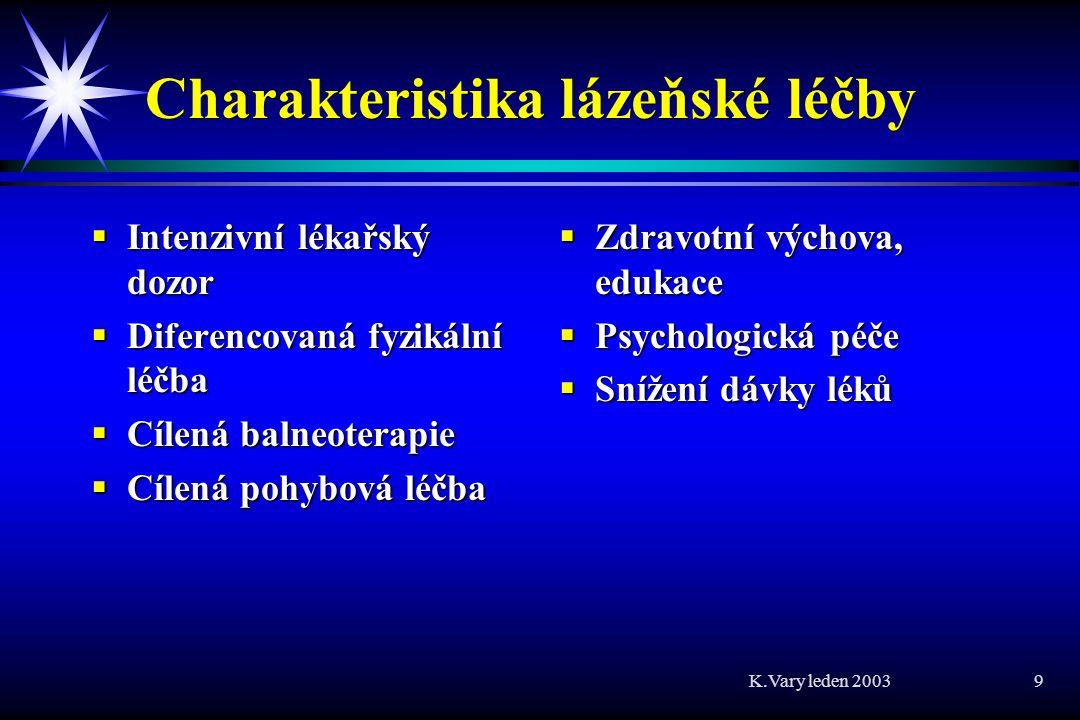 K.Vary leden 2003 30 Závěr 1  Je prokázaný účinek balneoterapeutických prostředků a často i jeho mechanismus  Nesleduje se trvání efektu, vliv na proklamované cíle:  zábrana invalidity  zábrana přechodu do chronicity