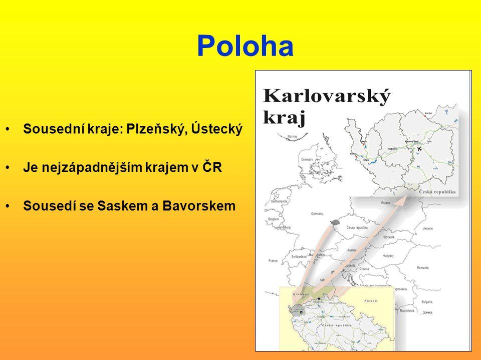 Poloha Sousední kraje: Plzeňský, Ústecký Je nejzápadnějším krajem v ČR Sousedí se Saskem a Bavorskem