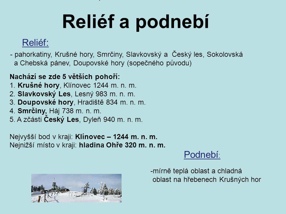 Reliéf a podnebí Reliéf: Nachází se zde 5 větších pohoří: 1. Krušné hory, Klínovec 1244 m. n. m. 2. Slavkovský Les, Lesný 983 m. n. m. 3. Doupovské ho
