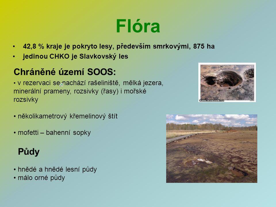 Flóra 42,8 % kraje je pokryto lesy, především smrkovými, 875 ha jedinou CHKO je Slavkovský les v rezervaci se nachází rašeliniště, mělká jezera, miner