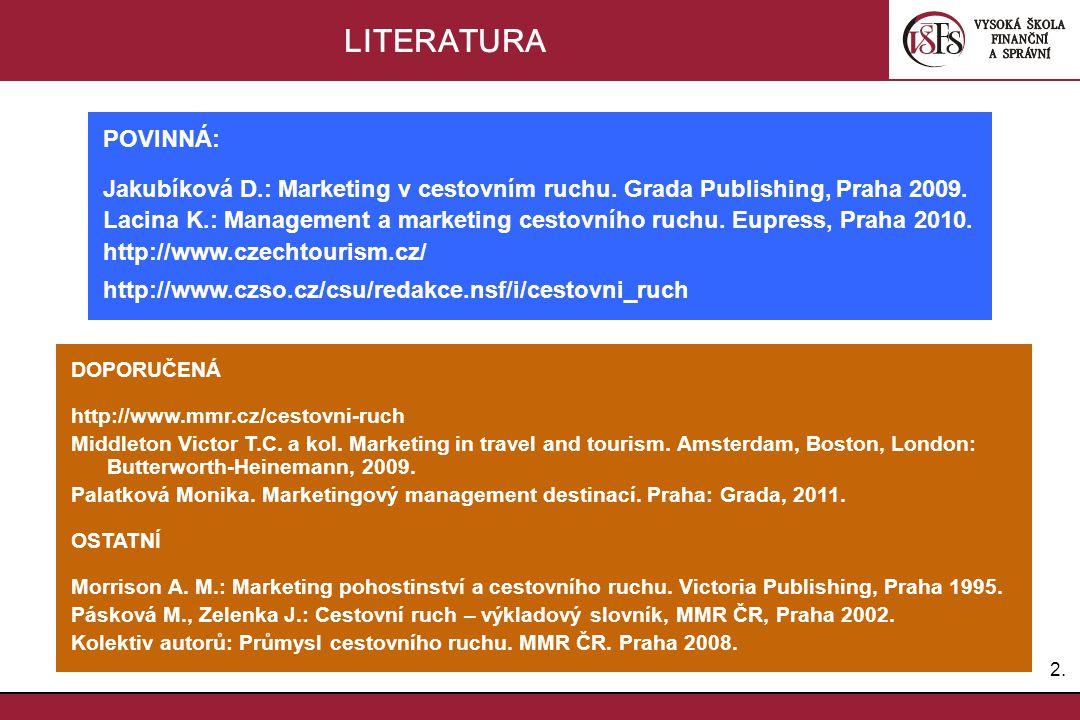 2.2. LITERATURA POVINNÁ: Jakubíková D.: Marketing v cestovním ruchu. Grada Publishing, Praha 2009. Lacina K.: Management a marketing cestovního ruchu.