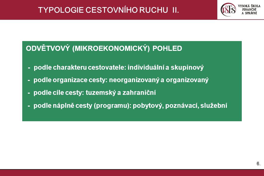 6.6. TYPOLOGIE CESTOVNÍHO RUCHU II. ODVĚTVOVÝ (MIKROEKONOMICKÝ) POHLED - podle charakteru cestovatele: individuální a skupinový - podle organizace ces