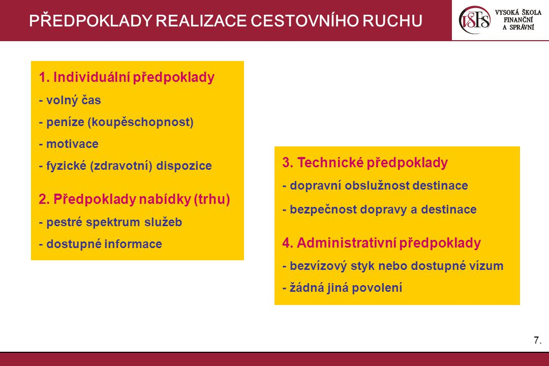 7.7. PŘEDPOKLADY REALIZACE CESTOVNÍHO RUCHU 1. Individuální předpoklady - volný čas - peníze (koupěschopnost) - motivace - fyzické (zdravotní) dispozi
