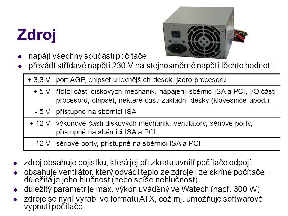 Základní deska (motherboard) základ počítače, do kterého jsou zasazeny nebo připojeny další součástky a díly (procesor, paměti, disky, rozšiřující karty) součástky, které mezi sebou musí komunikovat, jsou spojeny vodiči (tzv.