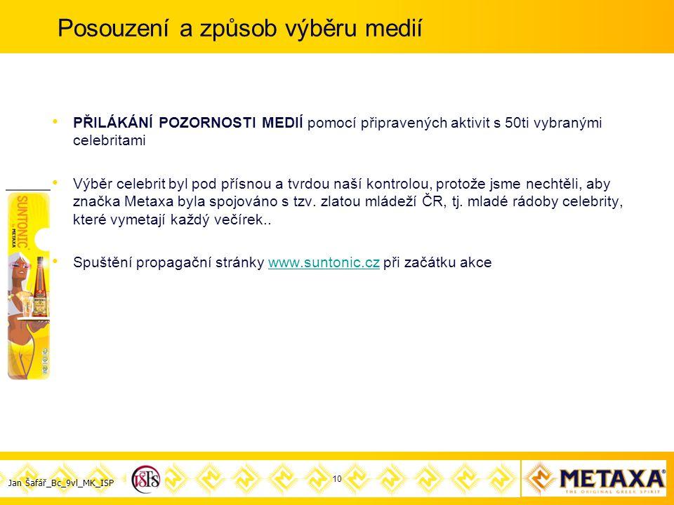 Jan Šafář_Bc_9vl_MK_ISP Posouzení a způsob výběru medií PŘILÁKÁNÍ POZORNOSTI MEDIÍ pomocí připravených aktivit s 50ti vybranými celebritami Výběr celebrit byl pod přísnou a tvrdou naší kontrolou, protože jsme nechtěli, aby značka Metaxa byla spojováno s tzv.