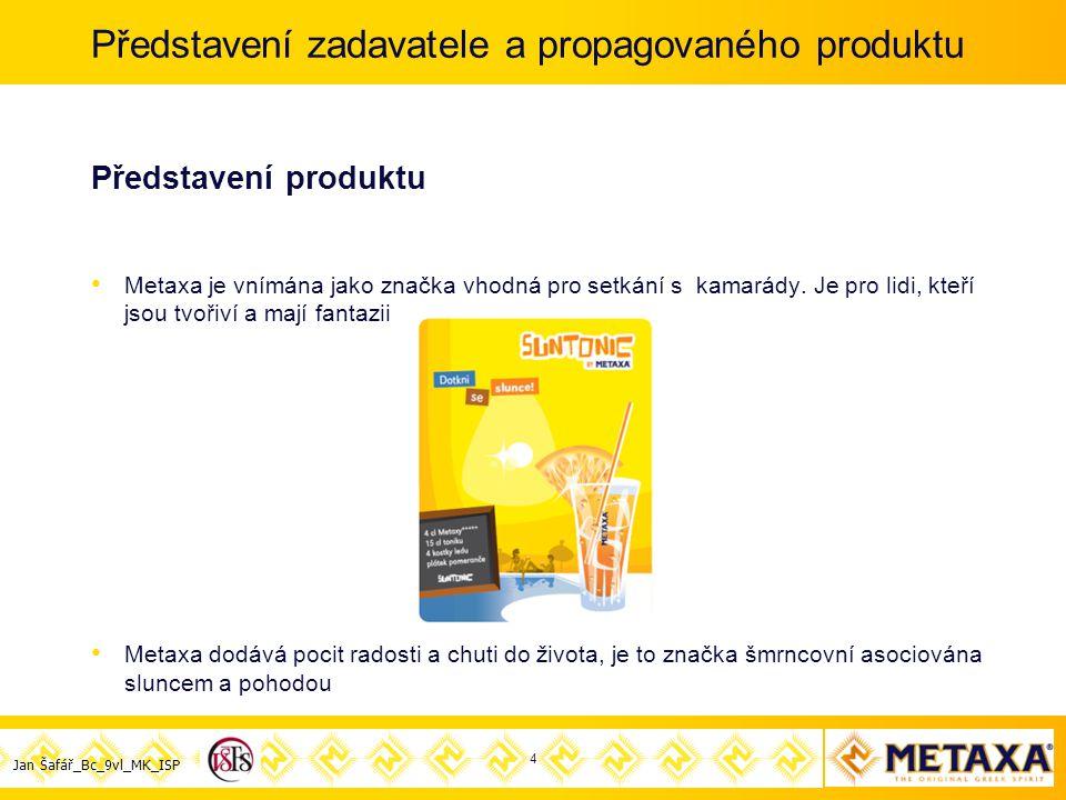 Jan Šafář_Bc_9vl_MK_ISP Představení zadavatele a propagovaného produktu Představení produktu Metaxa je vnímána jako značka vhodná pro setkání s kamarády.