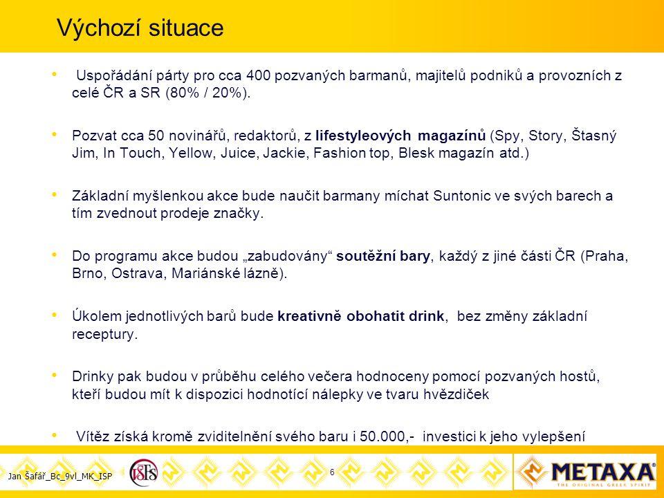 Jan Šafář_Bc_9vl_MK_ISP Výchozí situace Uspořádání párty pro cca 400 pozvaných barmanů, majitelů podniků a provozních z celé ČR a SR (80% / 20%).