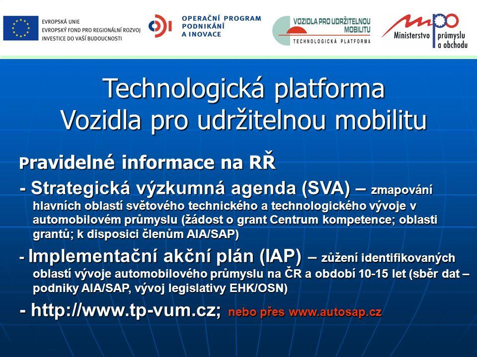 Technologická platforma Vozidla pro udržitelnou mobilitu P ravidelné informace na RŘ P ravidelné informace na RŘ - Strategická výzkumná agenda (SVA) –