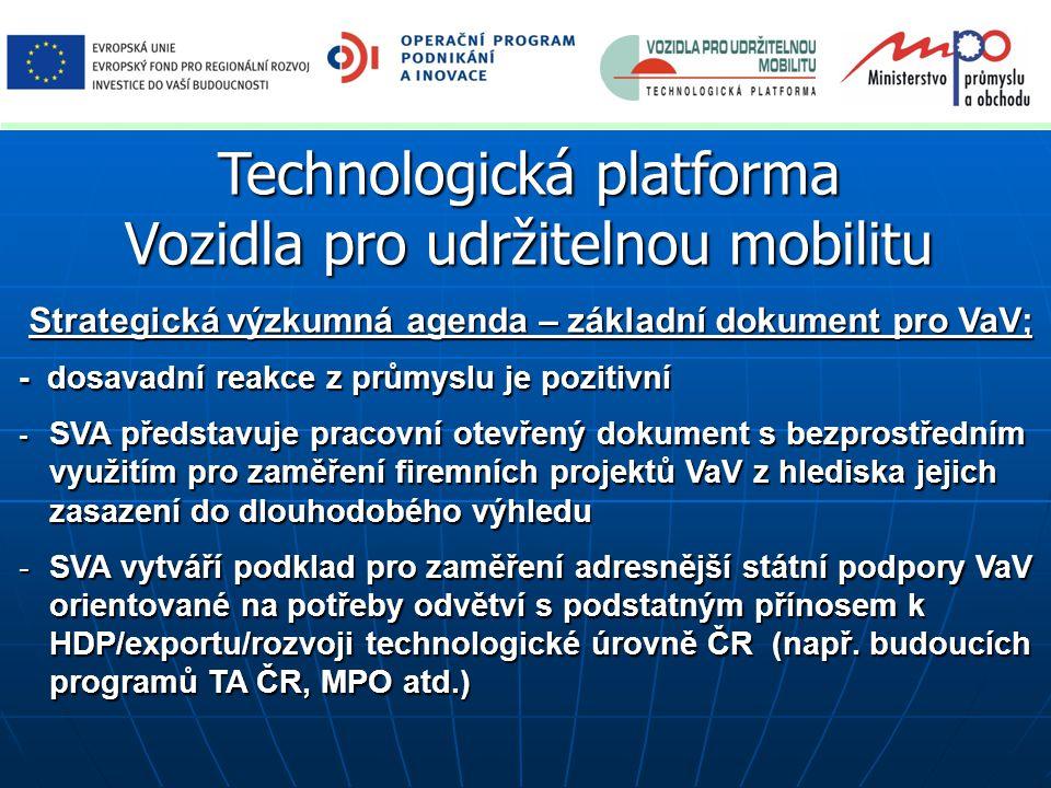 Technologická platforma Vozidla pro udržitelnou mobilitu Strategická výzkumná agenda – základní dokument pro VaV; Strategická výzkumná agenda – základ