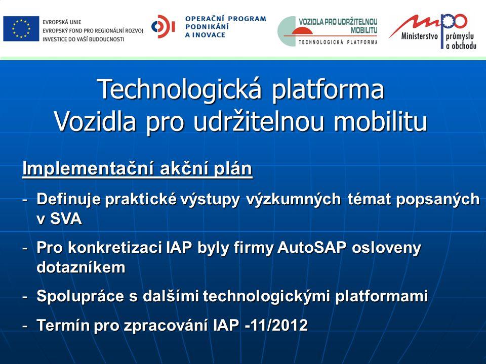 Technologická platforma Vozidla pro udržitelnou mobilitu Implementační akční plán -Definuje praktické výstupy výzkumných témat popsaných v SVA -Pro ko