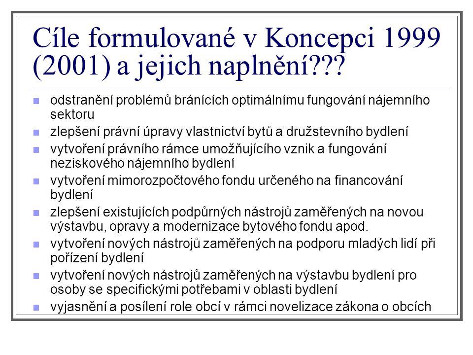 Cíle formulované v Koncepci 1999 (2001) a jejich naplnění .