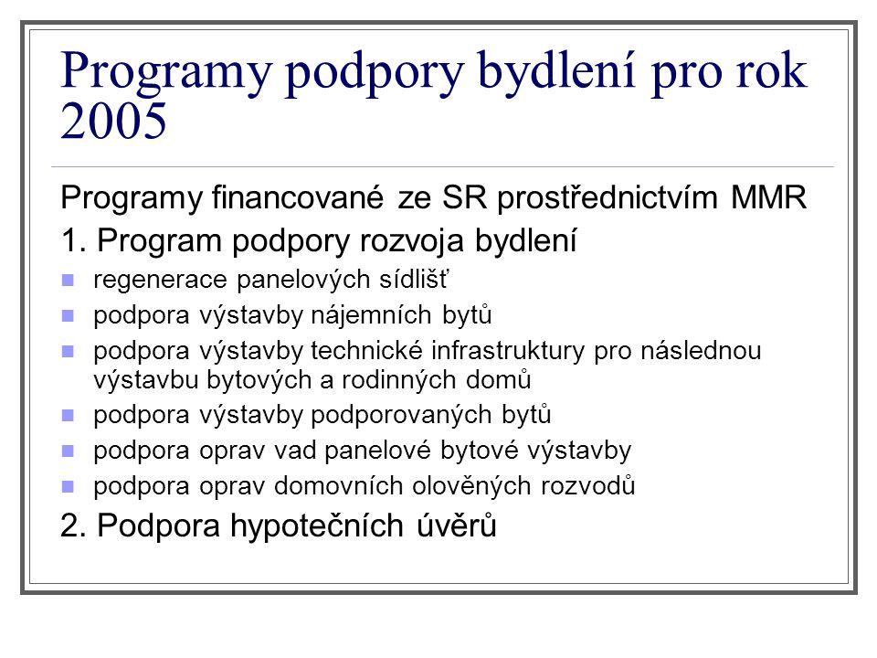 Programy podpory bydlení pro rok 2005 Programy financované ze SR prostřednictvím MMR 1.