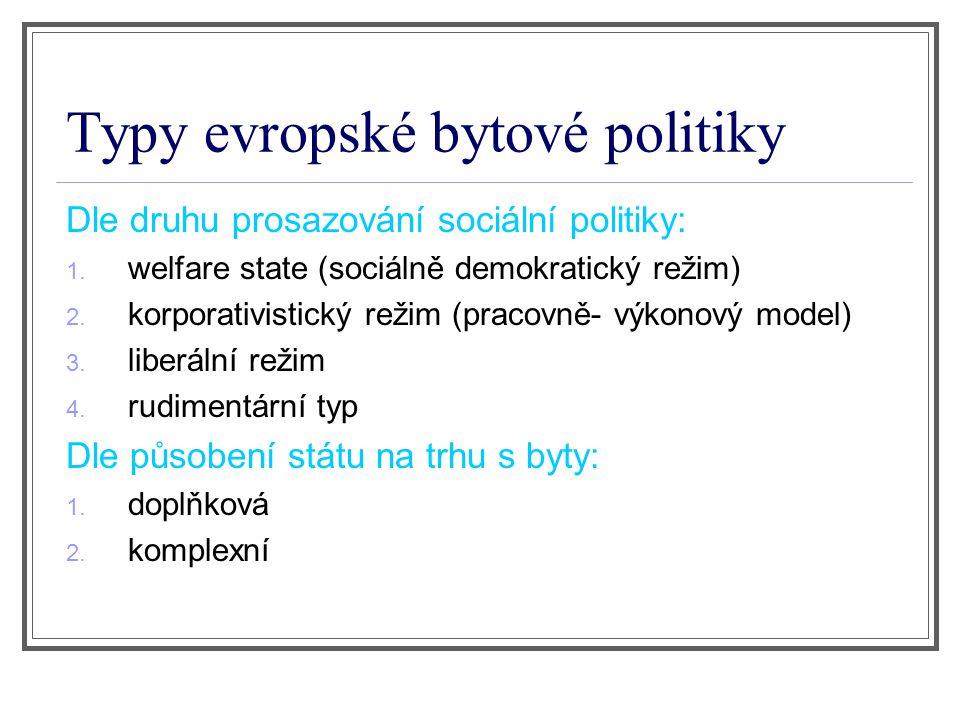 Typy evropské bytové politiky Dle druhu prosazování sociální politiky: 1.