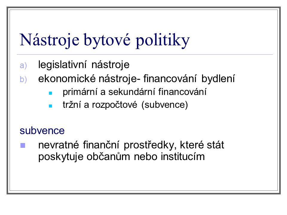 Nástroje bytové politiky a) legislativní nástroje b) ekonomické nástroje- financování bydlení primární a sekundární financování tržní a rozpočtové (subvence) subvence nevratné finanční prostředky, které stát poskytuje občanům nebo institucím