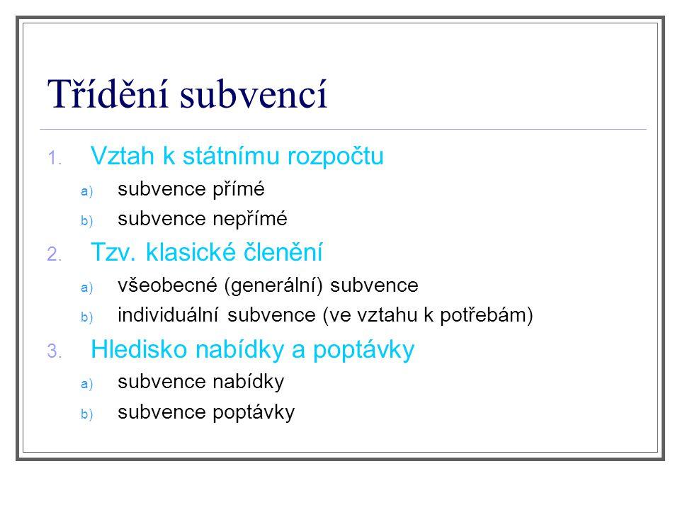 Třídění subvencí 1.Vztah k státnímu rozpočtu a) subvence přímé b) subvence nepřímé 2.