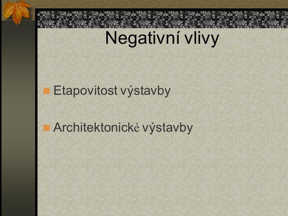 Negativní vlivy Etapovitost výstavby Architektonick é výstavby