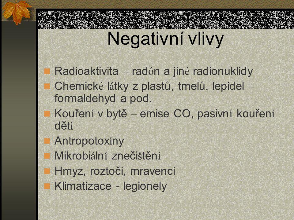 Negativní vlivy Radioaktivita – rad ó n a jin é radionuklidy Chemick é l á tky z plastů, tmelů, lepidel – formaldehyd a pod.