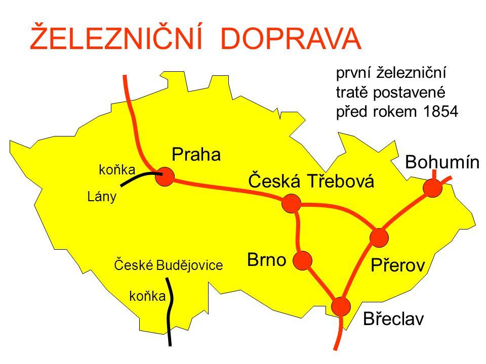 ŽELEZNIČNÍ DOPRAVA první železniční tratě postavené před rokem 1854 Praha Česká Třebová Brno Břeclav Přerov Bohumín Lány České Budějovice koňka