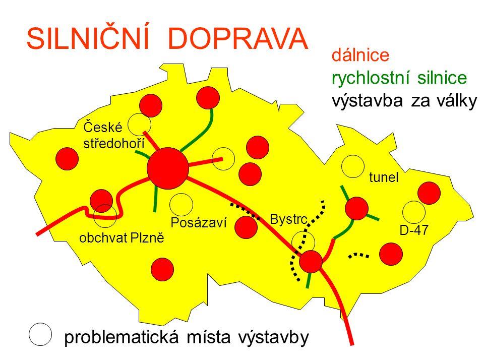 SILNIČNÍ DOPRAVA dálnice rychlostní silnice výstavba za války problematická místa výstavby obchvat Plzně Bystrc D-47 České středohoří tunel Posázaví