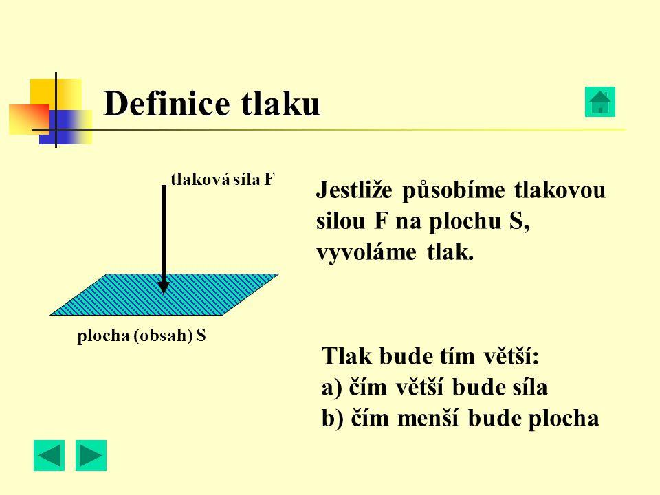 plocha (obsah) S tlaková síla F Jestliže působíme tlakovou silou F na plochu S, vyvoláme tlak. Tlak bude tím větší: a) čím větší bude síla b) čím menš