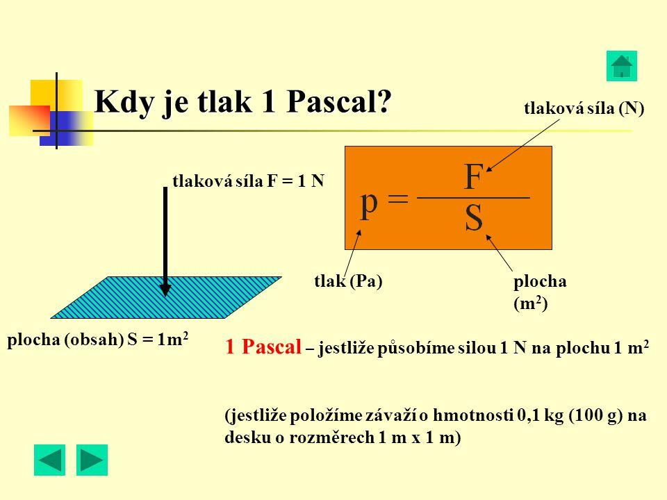 Kdy je tlak 1 Pascal? plocha (obsah) S = 1m 2 tlaková síla F = 1 N tlak (Pa) plocha (m 2 ) tlaková síla (N) 1 Pascal – jestliže působíme silou 1 N na