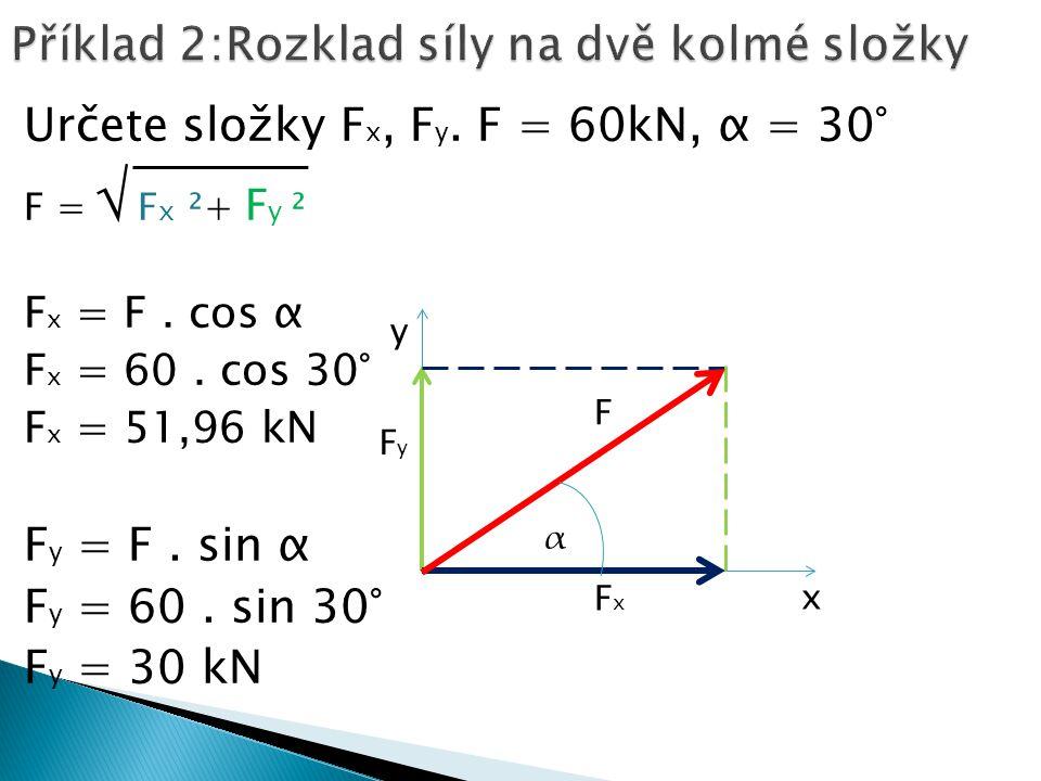 Určete složky F x, F y. F = 60kN, α = 30° F = √ F x ²+ F y ² F x = F.