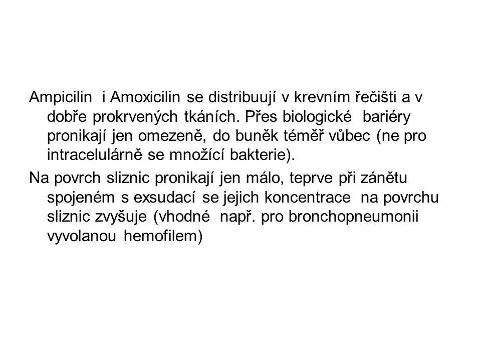 Ampicilin i Amoxicilin se distribuují v krevním řečišti a v dobře prokrvených tkáních. Přes biologické bariéry pronikají jen omezeně, do buněk téměř v