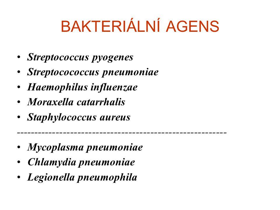 BAKTERIÁLNÍ AGENS Streptococcus pyogenes Streptocococcus pneumoniae Haemophilus influenzae Moraxella catarrhalis Staphylococcus aureus ---------------