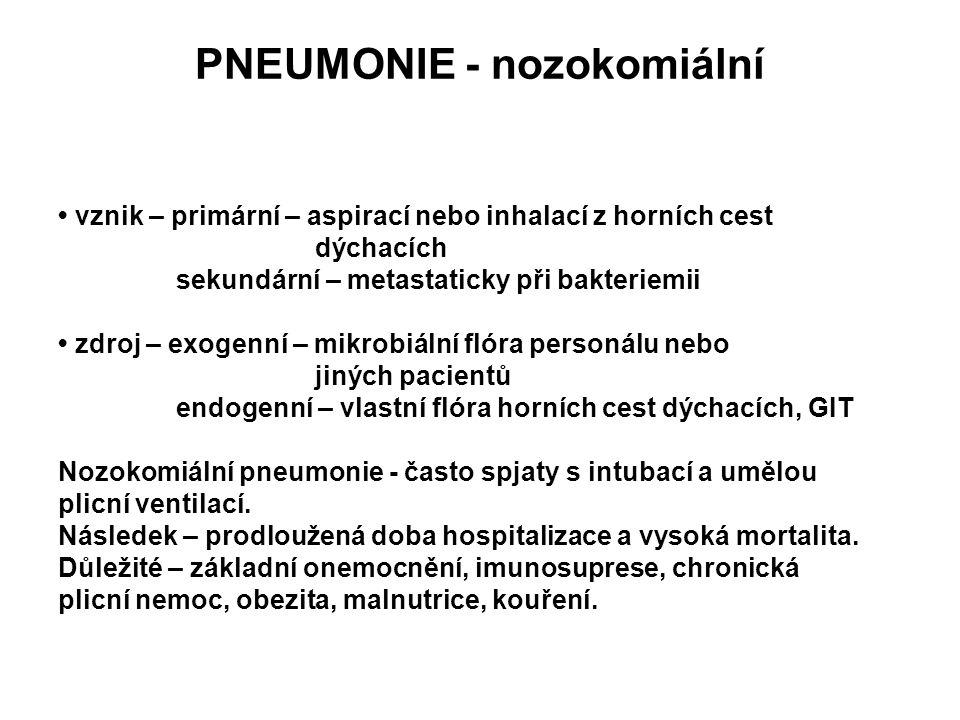 PNEUMONIE - nozokomiální vznik – primární – aspirací nebo inhalací z horních cest dýchacích sekundární – metastaticky při bakteriemii zdroj – exogenní