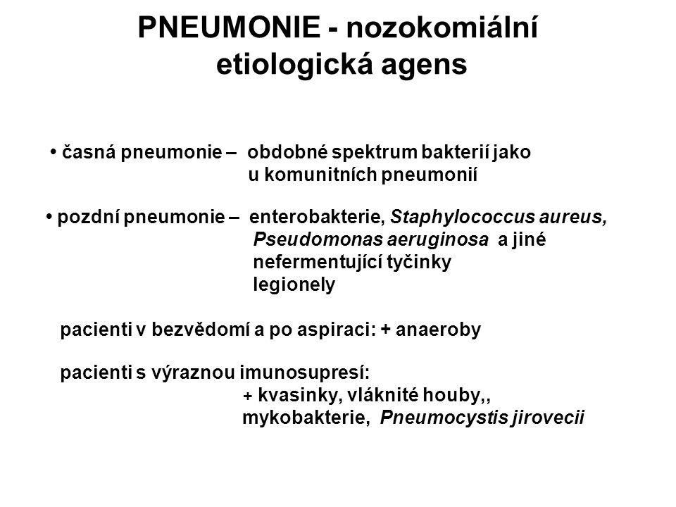 PNEUMONIE - nozokomiální etiologická agens časná pneumonie – obdobné spektrum bakterií jako u komunitních pneumonií pozdní pneumonie – enterobakterie,