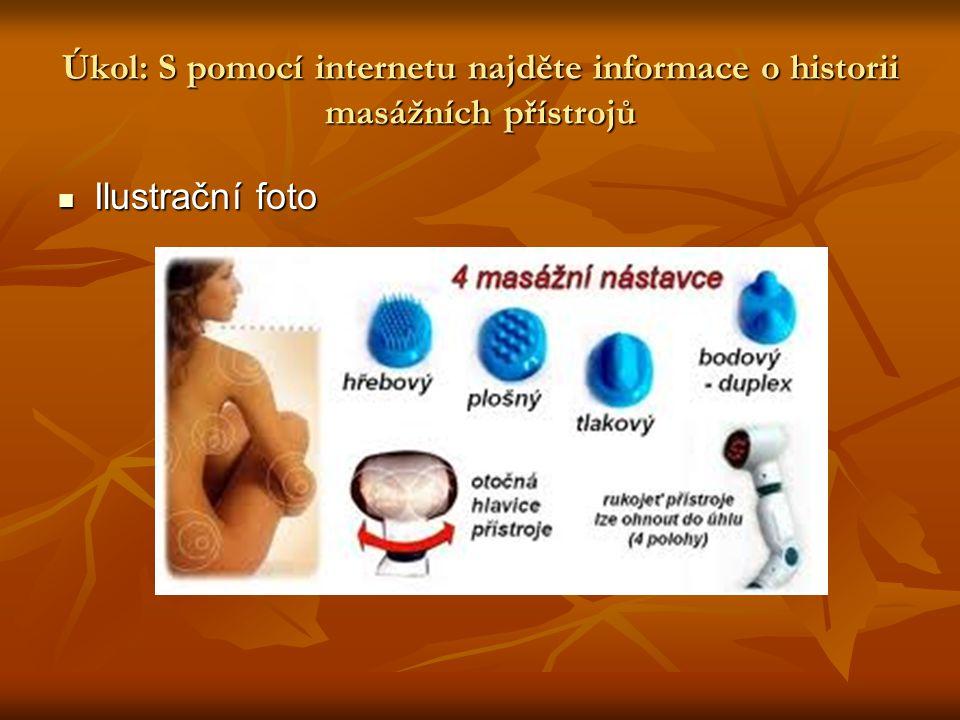 Úkol: S pomocí internetu najděte informace o historii masážních přístrojů Ilustrační foto Ilustrační foto
