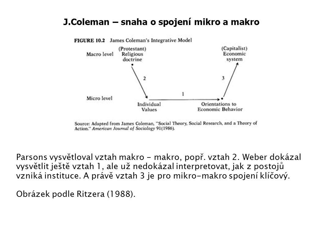 J.Coleman – snaha o spojení mikro a makro Parsons vysvětloval vztah makro - makro, popř. vztah 2. Weber dokázal vysvětlit ještě vztah 1, ale už nedoká