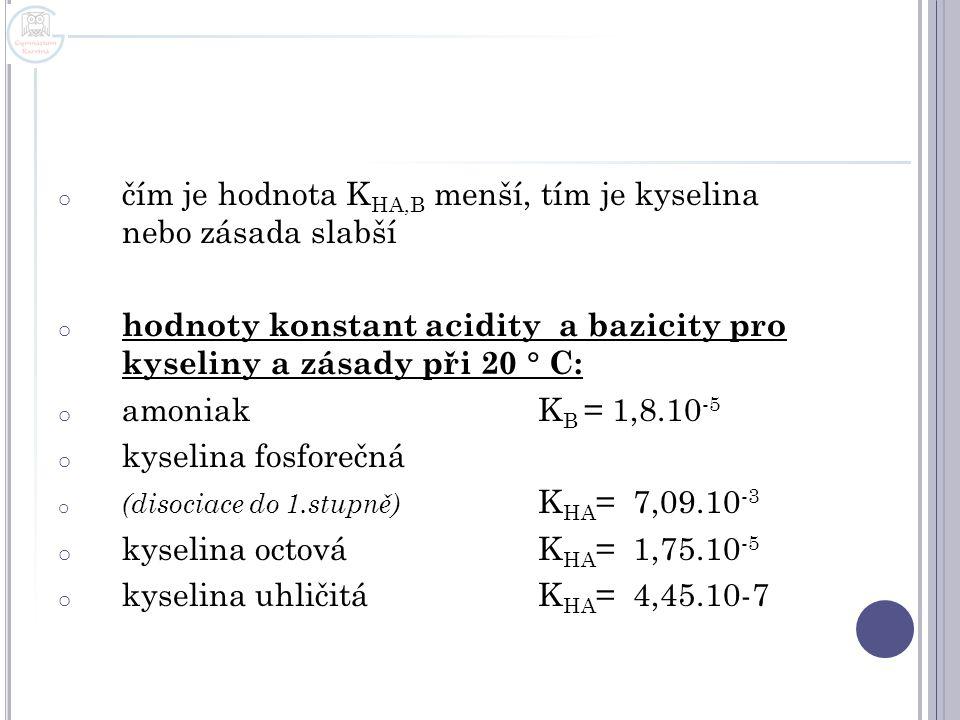 o čím je hodnota K HA,B menší, tím je kyselina nebo zásada slabší o hodnoty konstant acidity a bazicity pro kyseliny a zásady při 20  C: o amoniak K