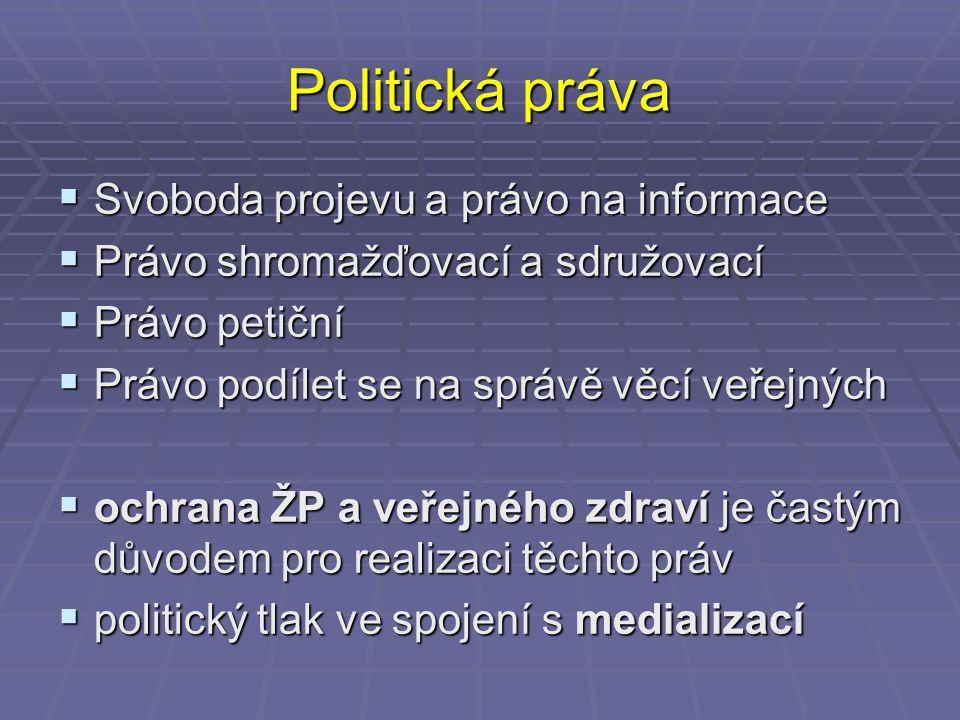 Politická práva  Svoboda projevu a právo na informace  Právo shromažďovací a sdružovací  Právo petiční  Právo podílet se na správě věcí veřejných