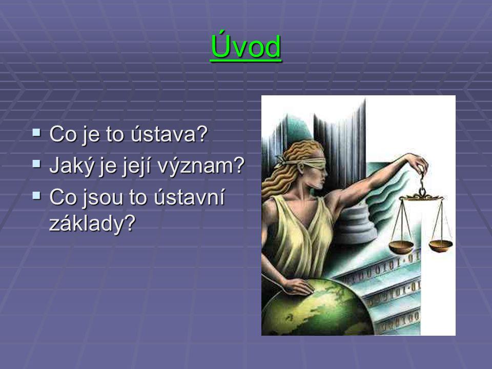 Úvod  Co je to ústava?  Jaký je její význam?  Co jsou to ústavní základy?