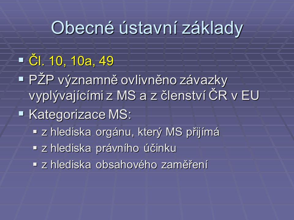 Obecné ústavní základy  Čl. 10, 10a, 49  PŽP významně ovlivněno závazky vyplývajícími z MS a z členství ČR v EU  Kategorizace MS:  z hlediska orgá