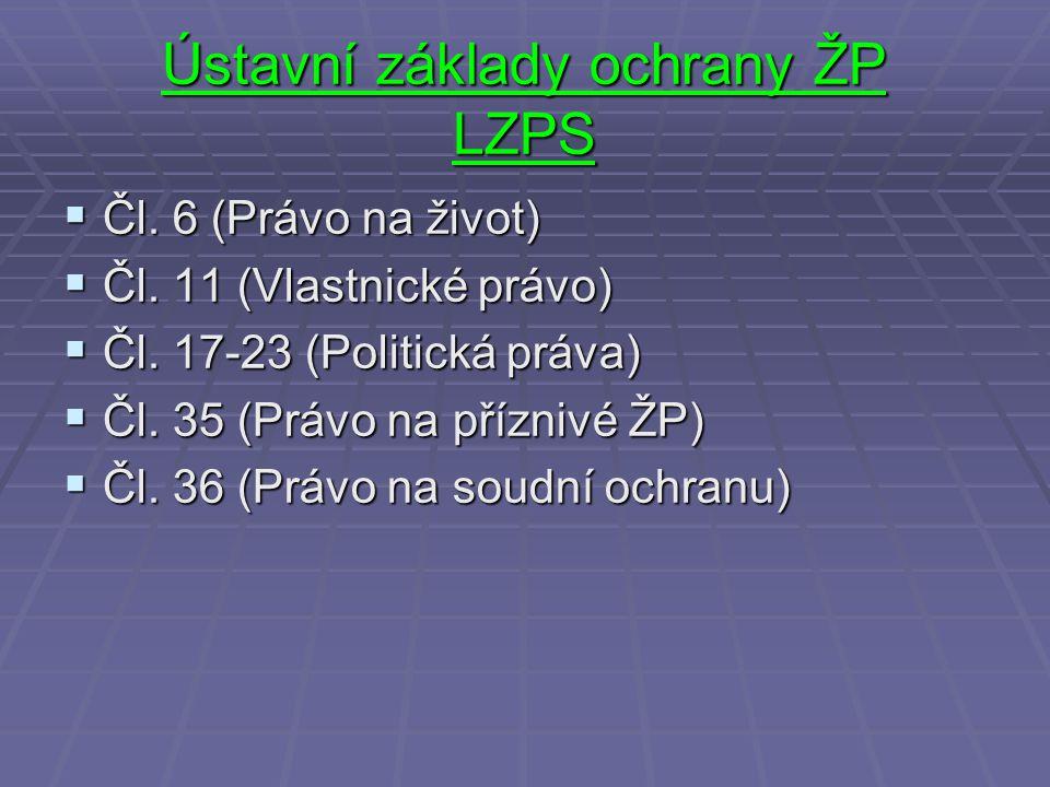 Ústavní základy ochrany ŽP LZPS  Čl. 6 (Právo na život)  Čl. 11 (Vlastnické právo)  Čl. 17-23 (Politická práva)  Čl. 35 (Právo na příznivé ŽP)  Č