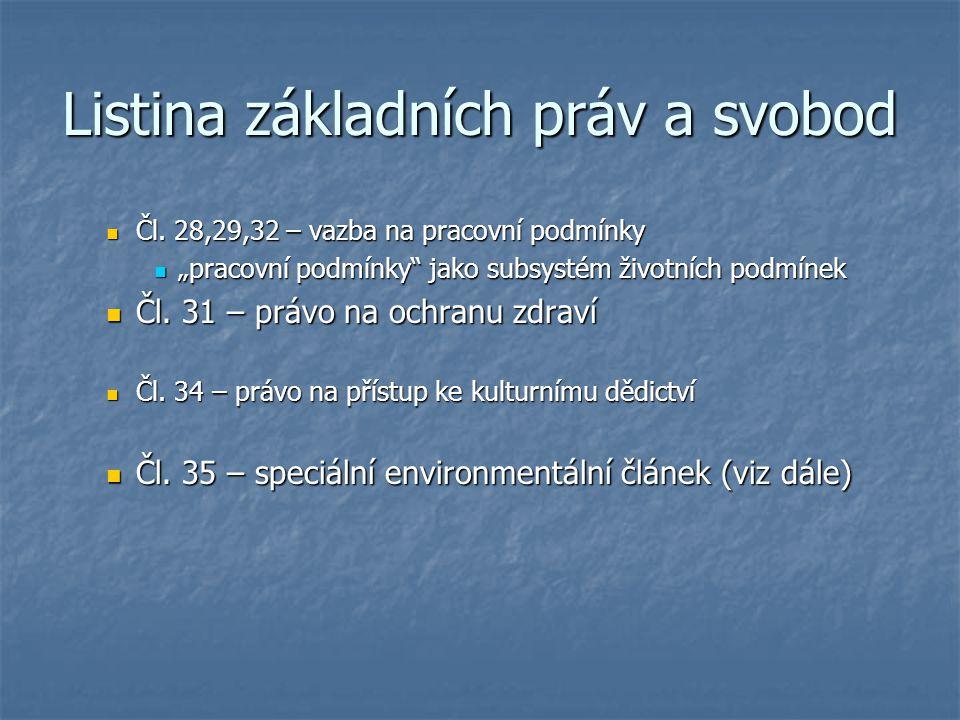 Listina základních práv a svobod Čl.28,29,32 – vazba na pracovní podmínky Čl.