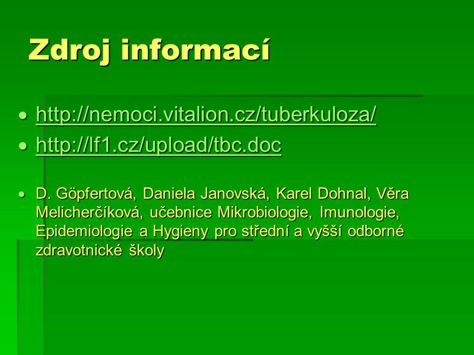 Zdroj informací  http://nemoci.vitalion.cz/tuberkuloza/ http://nemoci.vitalion.cz/tuberkuloza/  http://lf1.cz/upload/tbc.doc http://lf1.cz/upload/tb